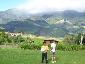 Kids, kites, mountains