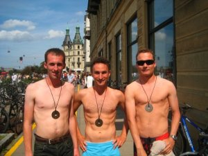 Here's us with our friend who finished half an hour faster than we did. He has a silver.