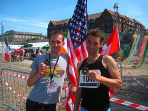 Here's me and my triatho-buddy feeling smug about winning by default.