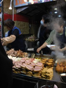 Buying food goes like this: Point, boil, eat from stick