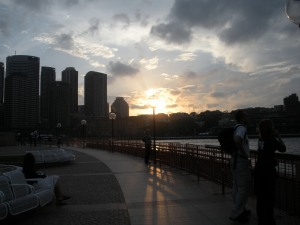 Here's the skyline and the upside-down sunset.
