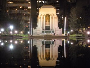 Everything looks like a postcard. Here's a war memorial and reflecting pool.