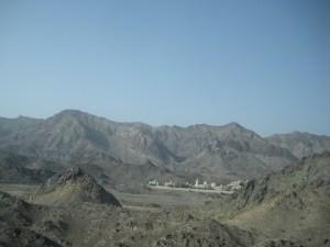 The mountains start just outside Dubai, and don't let up til Yemen