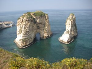 These are the 'pigeon rocks', the last stop along Beirut proper.
